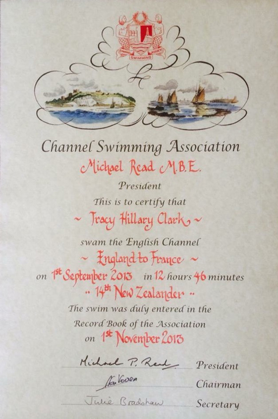 English Channel Swim Certificate