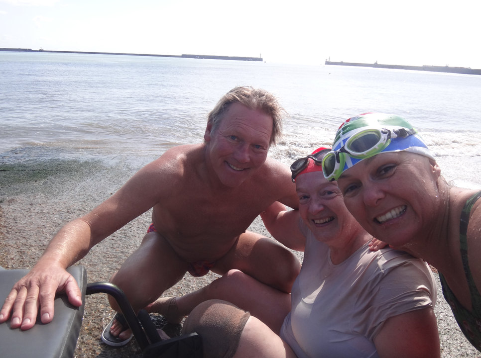 uk paralympian and english channel swimmer wheelchair