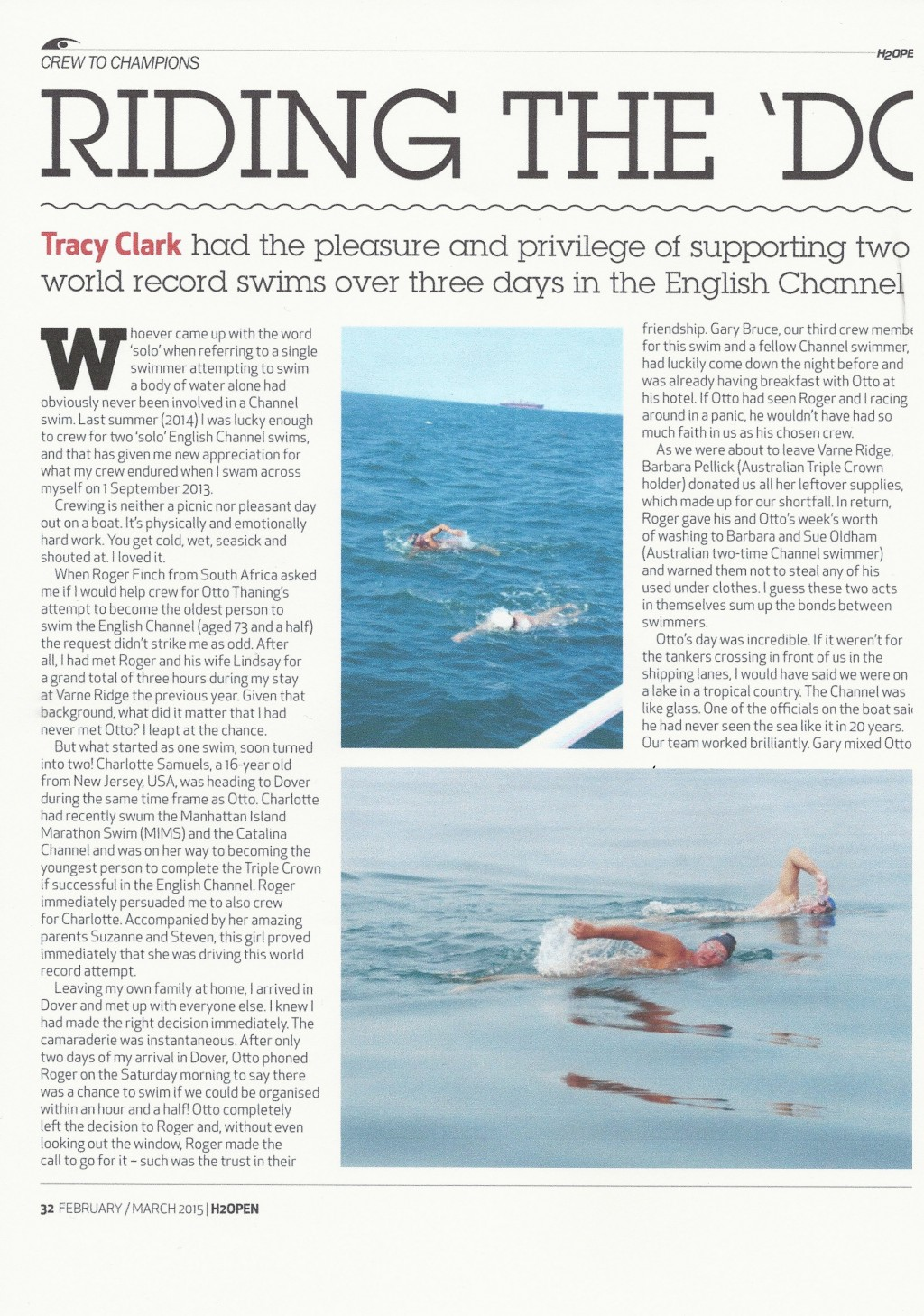 crewing for world record holders in marathon swimming