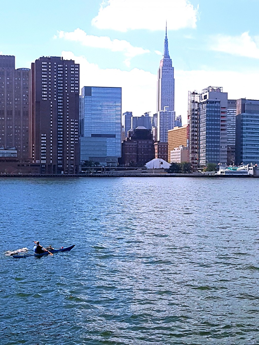 Swimming in front of the Empire State Building in the East River